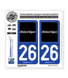 26 Rhône-Alpes - Tourisme | Autocollant plaque immatriculation