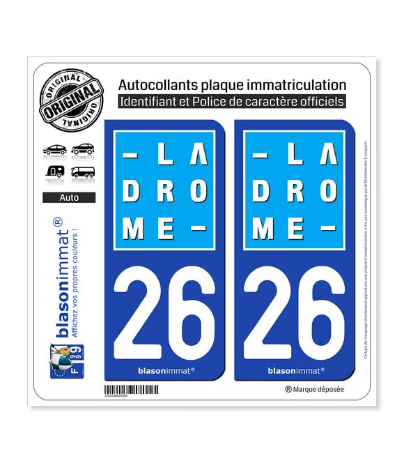 26 Drôme - Département | Autocollant plaque immatriculation