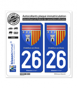 26 Châtillon-en-Diois - Armoiries | Autocollant plaque immatriculation