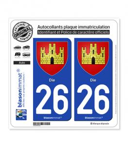 26 Die - Armoiries | Autocollant plaque immatriculation