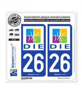 26 Die - Ville | Autocollant plaque immatriculation