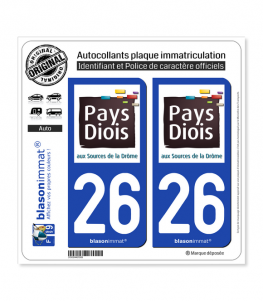 26 Die - Pays | Autocollant plaque immatriculation
