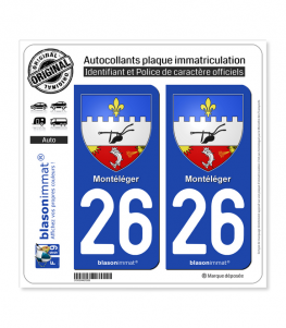 26 Montéléger - Armoiries | Autocollant plaque immatriculation