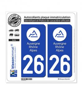 26 Auvergne-Rhône-Alpes - LogoType | Autocollant plaque immatriculation