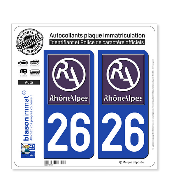 26 Rhône-Alpes - LogoType II | Autocollant plaque immatriculation