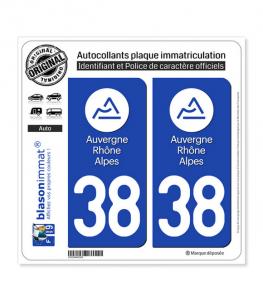 38 Auvergne-Rhône-Alpes - LogoType | Autocollant plaque immatriculation