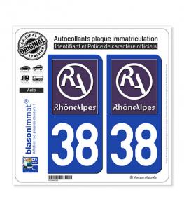 38 Rhône-Alpes - LogoType II | Autocollant plaque immatriculation