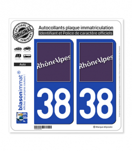 38 Rhône-Alpes - LogoType | Autocollant plaque immatriculation