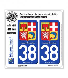 38 Auvergne-Rhône-Alpes - Armoiries | Autocollant plaque immatriculation