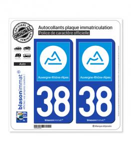 38 Auvergne-Rhône-Alpes - Région | Autocollant plaque immatriculation