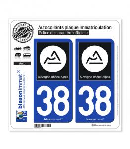 38 Auvergne-Rhône-Alpes - Région II | Autocollant plaque immatriculation