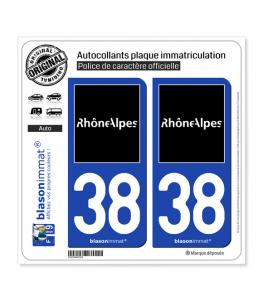 38 Rhône-Alpes - Tourisme | Autocollant plaque immatriculation