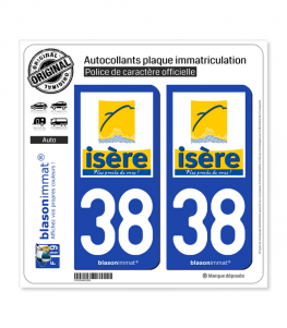 38 Isère - Département | Autocollant plaque immatriculation
