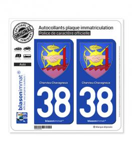 38 Charvieu-Chavagneux - Armoiries | Autocollant plaque immatriculation