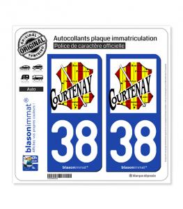 38 Courtenay - Commune | Autocollant plaque immatriculation