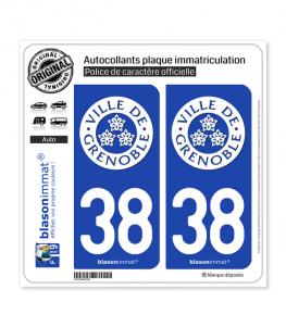 38 Grenoble - Ville | Autocollant plaque immatriculation