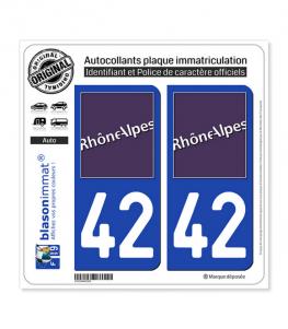 42 Rhône-Alpes - LogoType | Autocollant plaque immatriculation
