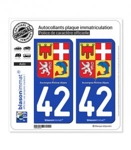 42 Auvergne-Rhône-Alpes - Armoiries | Autocollant plaque immatriculation