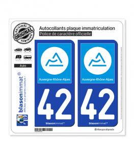 42 Auvergne-Rhône-Alpes - Région | Autocollant plaque immatriculation