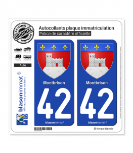 42 Montbrison - Armoiries | Autocollant plaque immatriculation