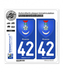 42 Roanne - Armoiries | Autocollant plaque immatriculation