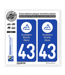43 Auvergne-Rhône-Alpes - LogoType | Autocollant plaque immatriculation