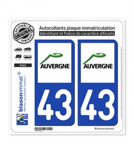 43 Auvergne - LogoType | Autocollant plaque immatriculation