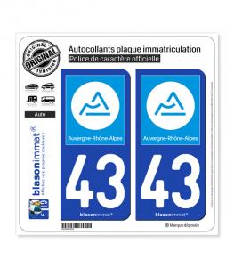 43 Auvergne-Rhône-Alpes - Région | Autocollant plaque immatriculation