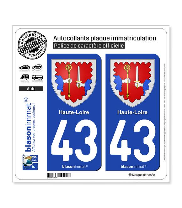 43 Haute-Loire - Armoiries | Autocollant plaque immatriculation