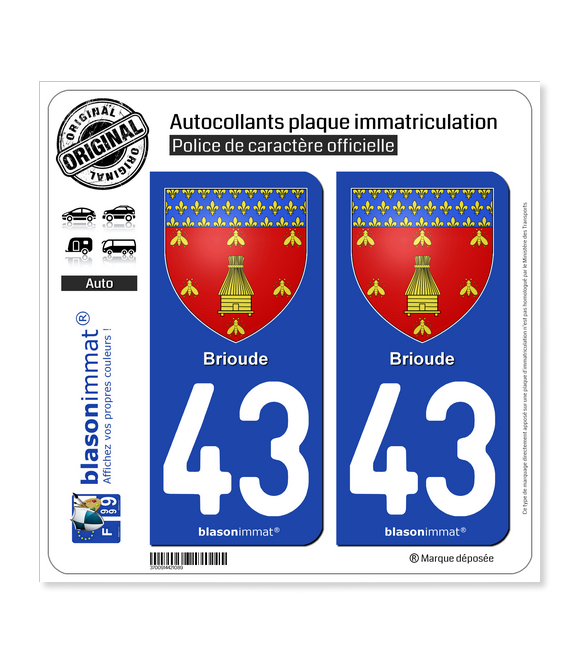 43 Brioude - Armoiries | Autocollant plaque immatriculation