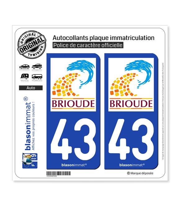 43 Brioude - Ville | Autocollant plaque immatriculation