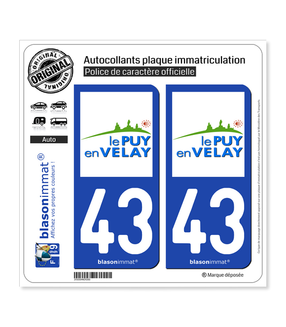 43 Puy-en-Velay - Ville | Autocollant plaque immatriculation