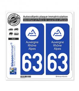63 Auvergne-Rhône-Alpes - LogoType | Autocollant plaque immatriculation