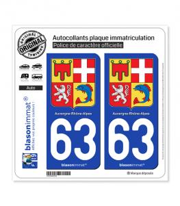 63 Auvergne-Rhône-Alpes - Armoiries | Autocollant plaque immatriculation