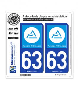 63 Auvergne-Rhône-Alpes - Région | Autocollant plaque immatriculation