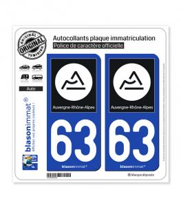63 Auvergne-Rhône-Alpes - Région II | Autocollant plaque immatriculation