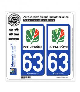 63 Puy-de-Dôme - Département | Autocollant plaque immatriculation
