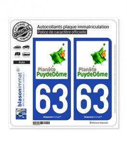 63 Puy-de-Dôme - Tourisme | Autocollant plaque immatriculation