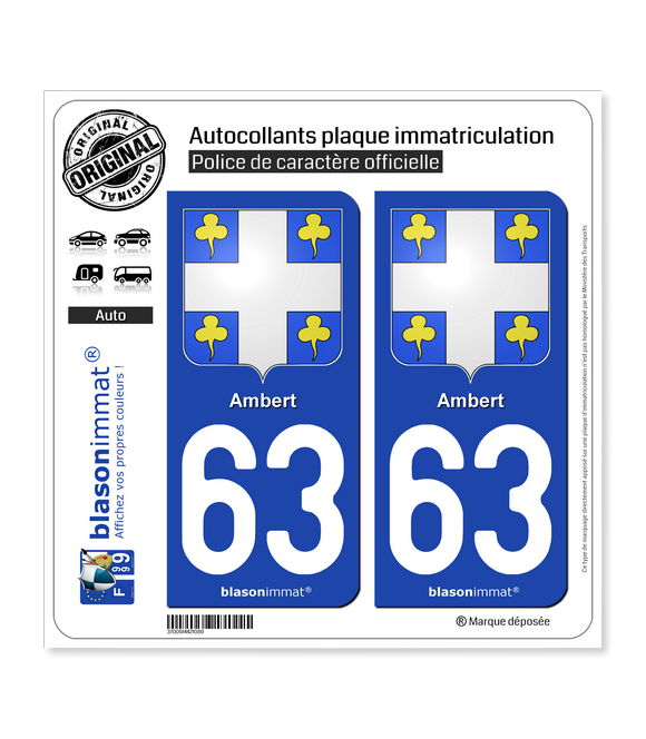 63 Ambert - Armoiries | Autocollant plaque immatriculation