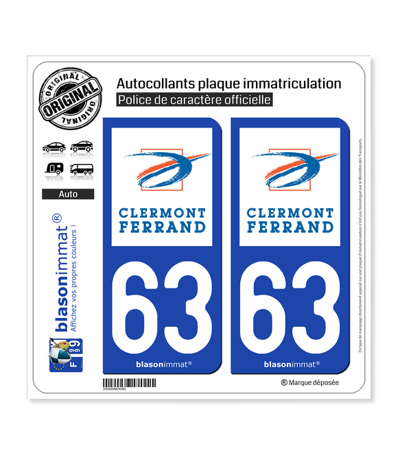 63 Clermont-Ferrand - Ville | Autocollant plaque immatriculation