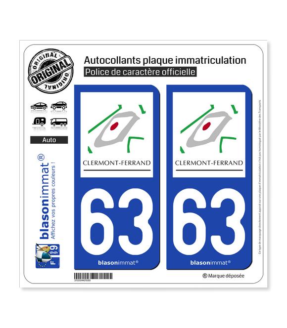 63 Clermont-Ferrand - Tourisme | Autocollant plaque immatriculation