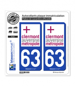 63 Clermont-Ferrand - Agglo | Autocollant plaque immatriculation