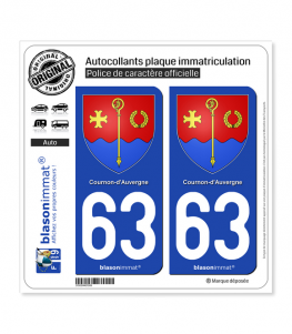 63 Cournon-d'Auvergne - Armoiries | Autocollant plaque immatriculation