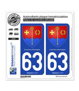 63 Cournon-d'Auvergne - Armoiries | Autocollant plaque immatriculation