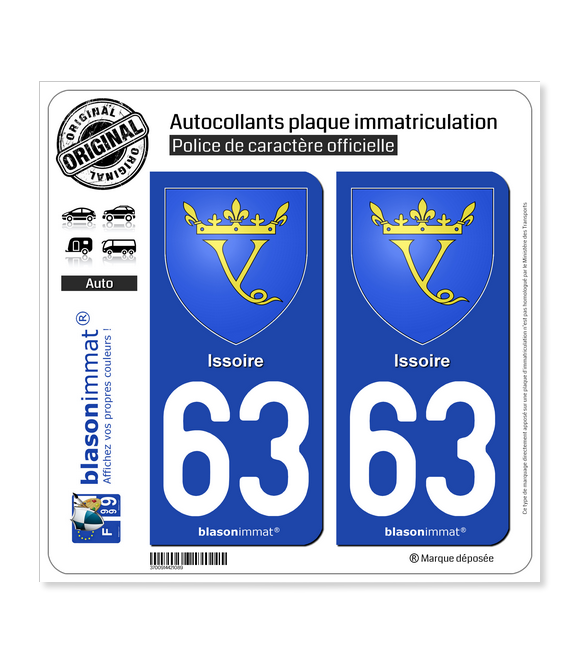 63 Issoire - Armoiries | Autocollant plaque immatriculation