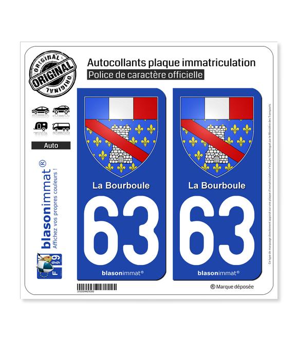 63 La Bourboule - Armoiries | Autocollant plaque immatriculation