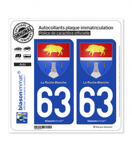 63 La Roche-Blanche - Armoiries | Autocollant plaque immatriculation