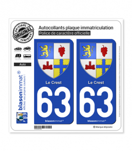 63 Le Crest - Armoiries | Autocollant plaque immatriculation