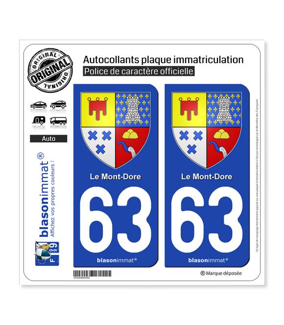 63 Le Mont-Dore - Armoiries | Autocollant plaque immatriculation
