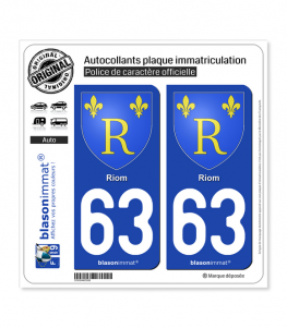 63 Riom - Armoiries | Autocollant plaque immatriculation